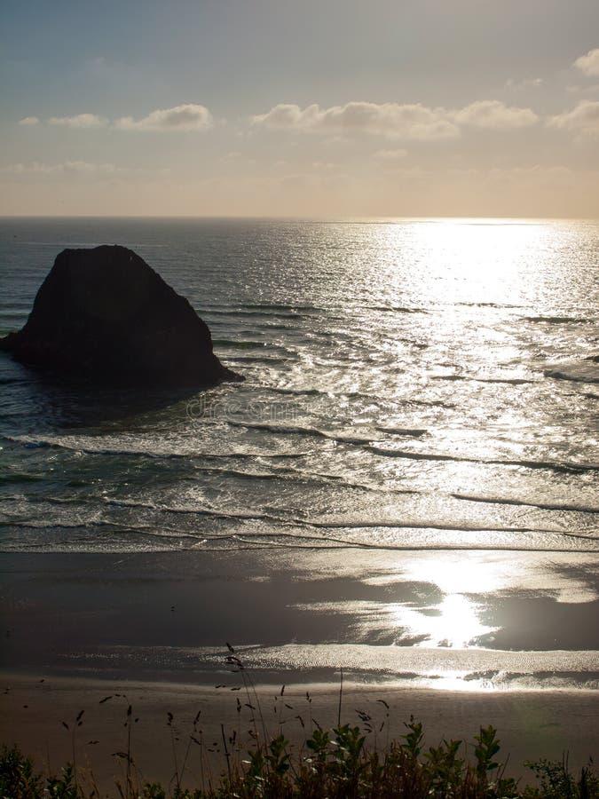 Beach On The Oregon Coast Overlook At Sundown Royalty Free Stock Photo