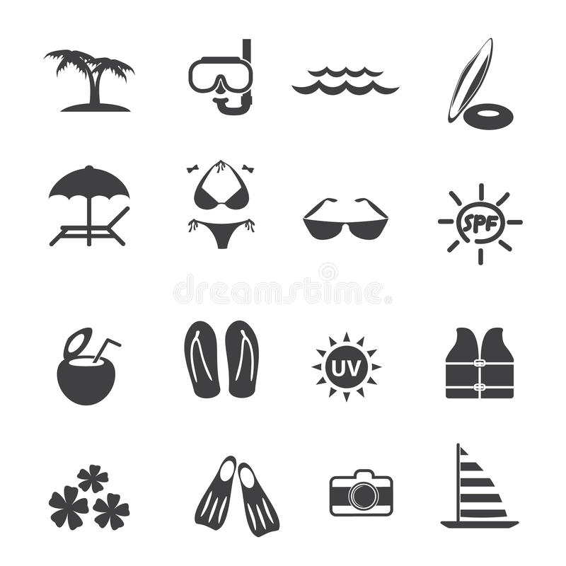 Beach outdoor activity icons set royalty free illustration