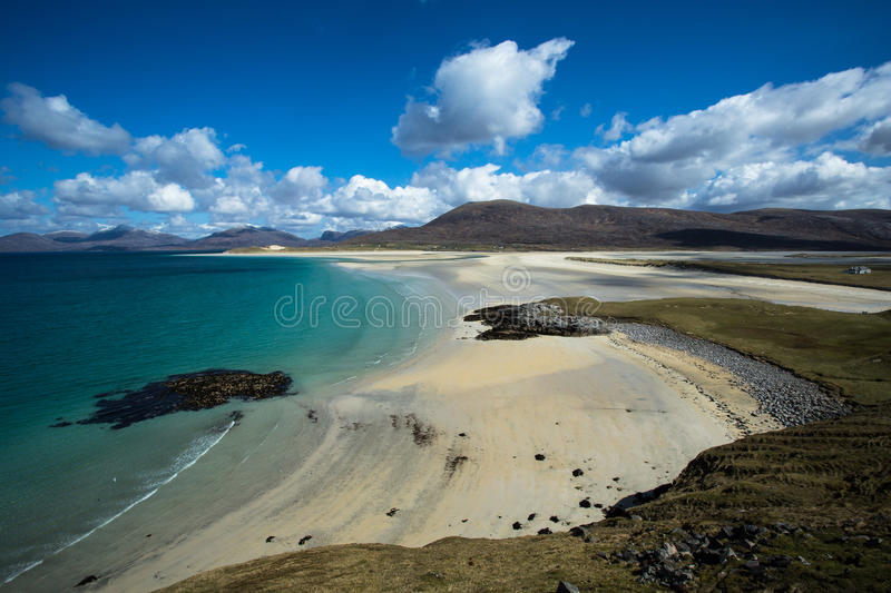 Beach in the Outer Hebrides. Turquoise waters lapping a beach in the outer hebrides, Scotland royalty free stock photo