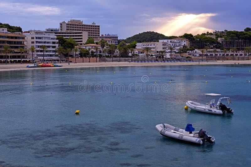 Beach of Paguera in Majorca at Sunset stock photos