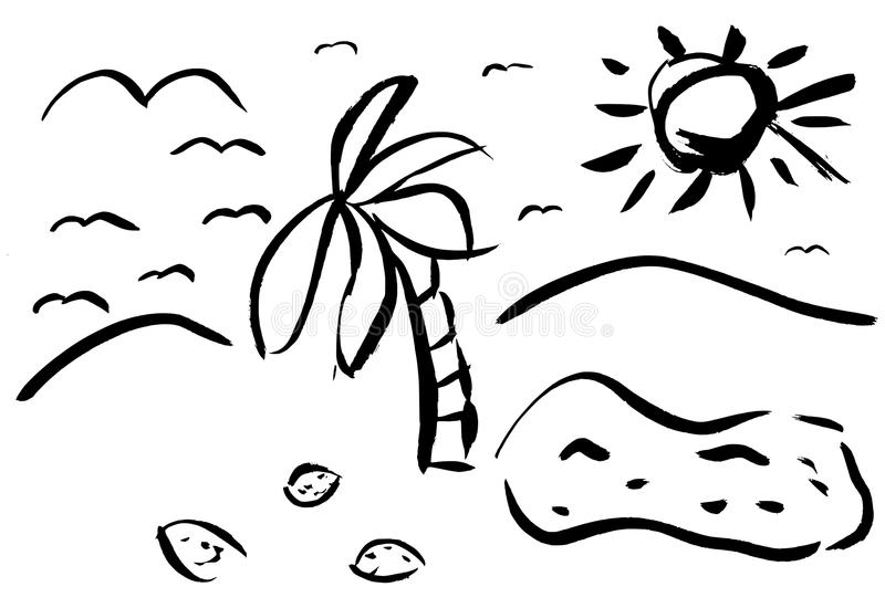 Download Beach With Palm Tree And Coconuts Stock Illustration - Image: 33703145