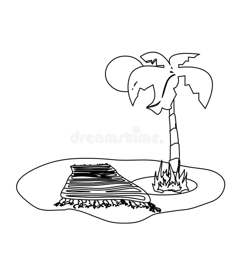 Download Beach With Palm Tree Coloring Page Stock Illustration