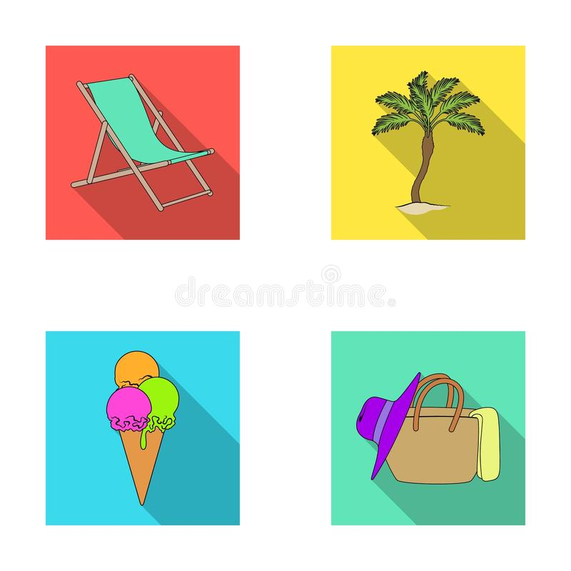 Beach, palm tree, ice cream.Summer vacation set collection icons in flat style vector symbol stock illustration web. royalty free illustration