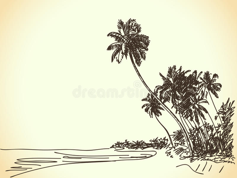Download Beach with palm trees stock vector. Illustration of sand - 31638137