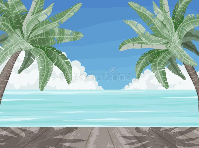 Beach and palm trees, summer time paradise banner. Palm leaf at seashore and wooden background, tropical vector illustration royalty free illustration