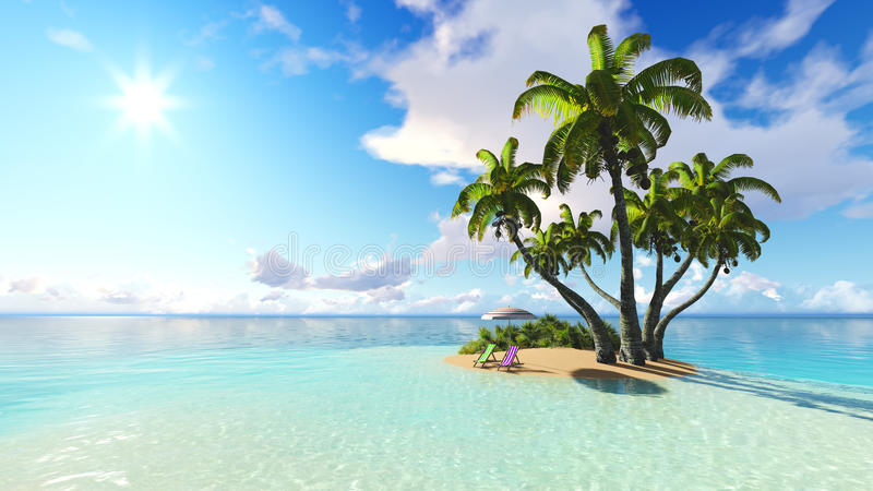 Beach and palms blue sky clouds 3D rendering royalty free illustration