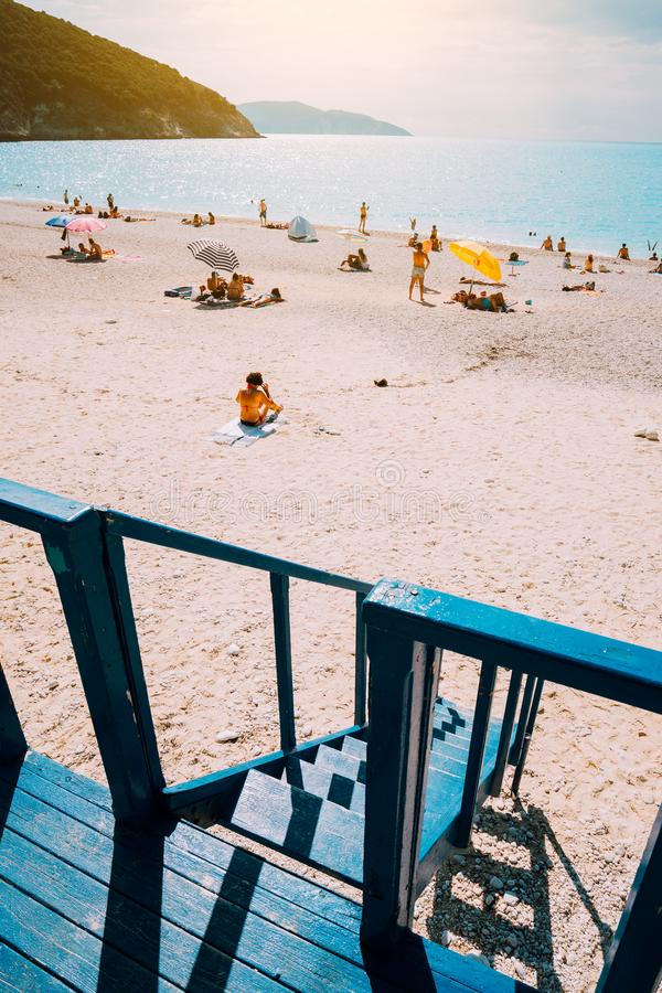 Beach panorama from the lifeguard rescue tower. Summertime summer holiday on mediterrean sea.  stock photography