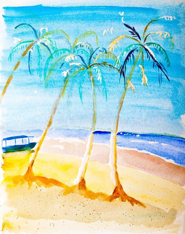 Download Beach paradise painting stock image. Image of coastline - 24300863