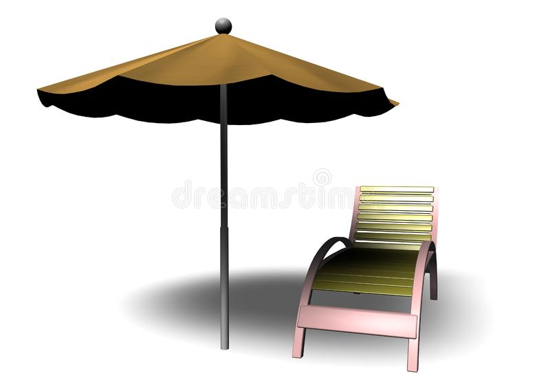 Download Beach Parasol And Deckchair Stock Illustration - Illustration of parasol, tropical: 14651190