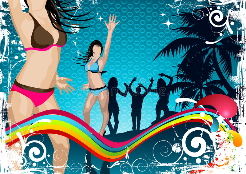 Beach Party Background. Peaple at a party having fun stock illustration