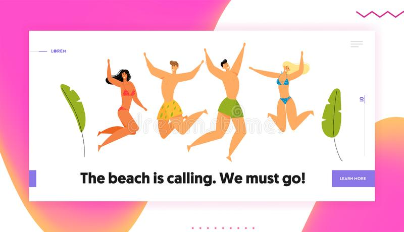 Beach Party Celebration. Group of Happy Young People Characters in Swim Wear Jumping with Hands Up, Summer vector illustration