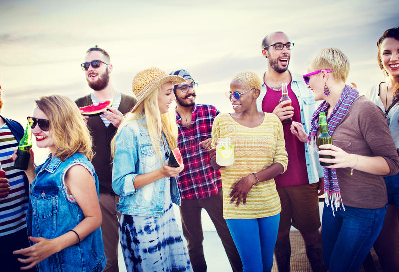 Beach Party Dinner Friendship Happiness Summer Concept.  stock photography