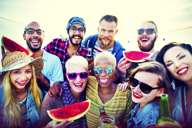 Beach Party Dinner Friendship Happiness Summer Concept royalty free stock images