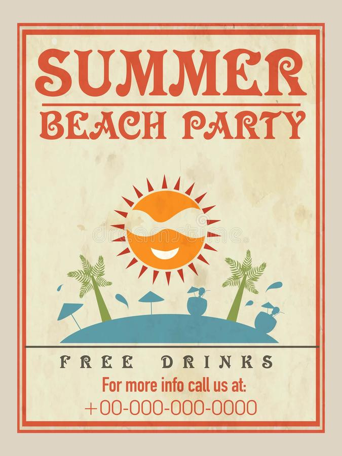 Beach Party Flyer Template Or Brochure Design Stock Illustration