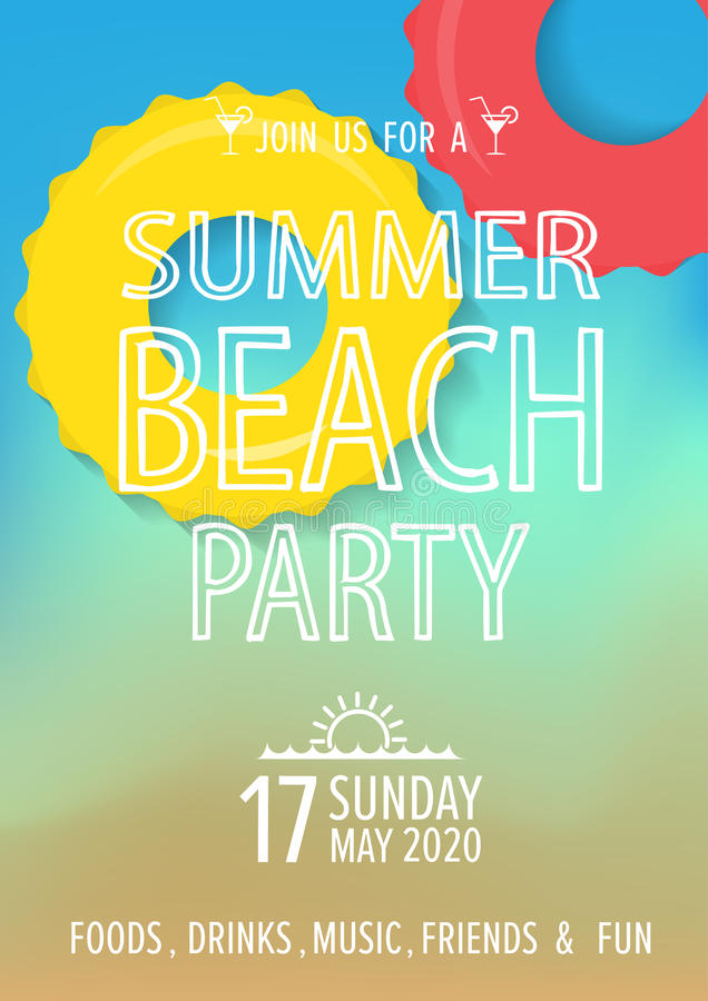 Beach Party Invitation Background Vector Stock Vector