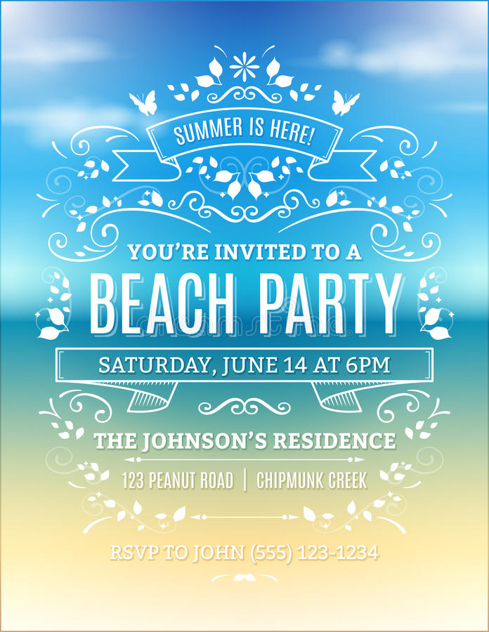 Beach Party Invitation. With white ornaments and ribbons on a blurry ocean background