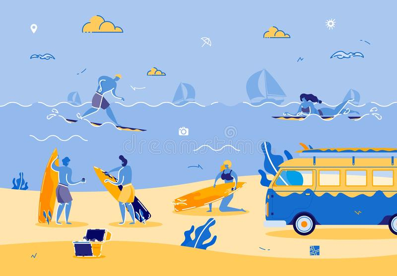 Beach Party with People Enjoying Hot Summer Time vector illustration