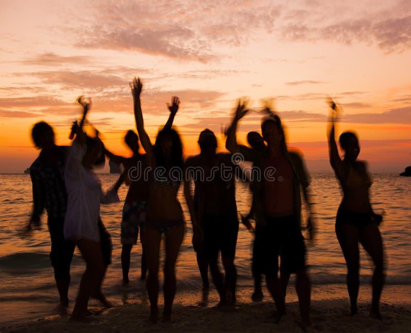 Beach Party. People having fun on beach party stock photos