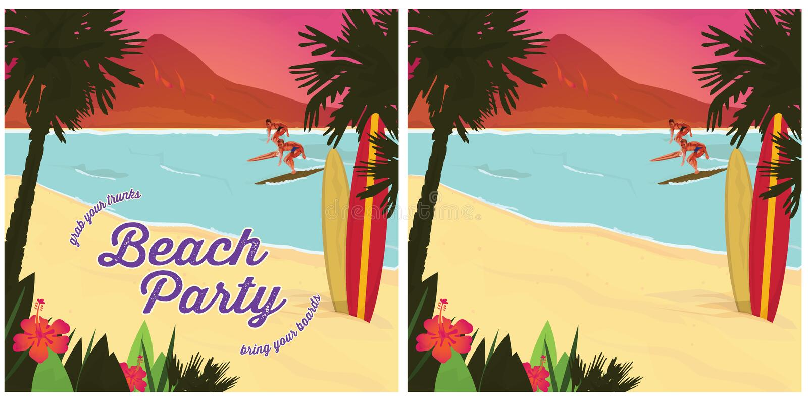 Beach Party Poster. Beach Party Surf Invitation Poster Retro Vector stock illustration