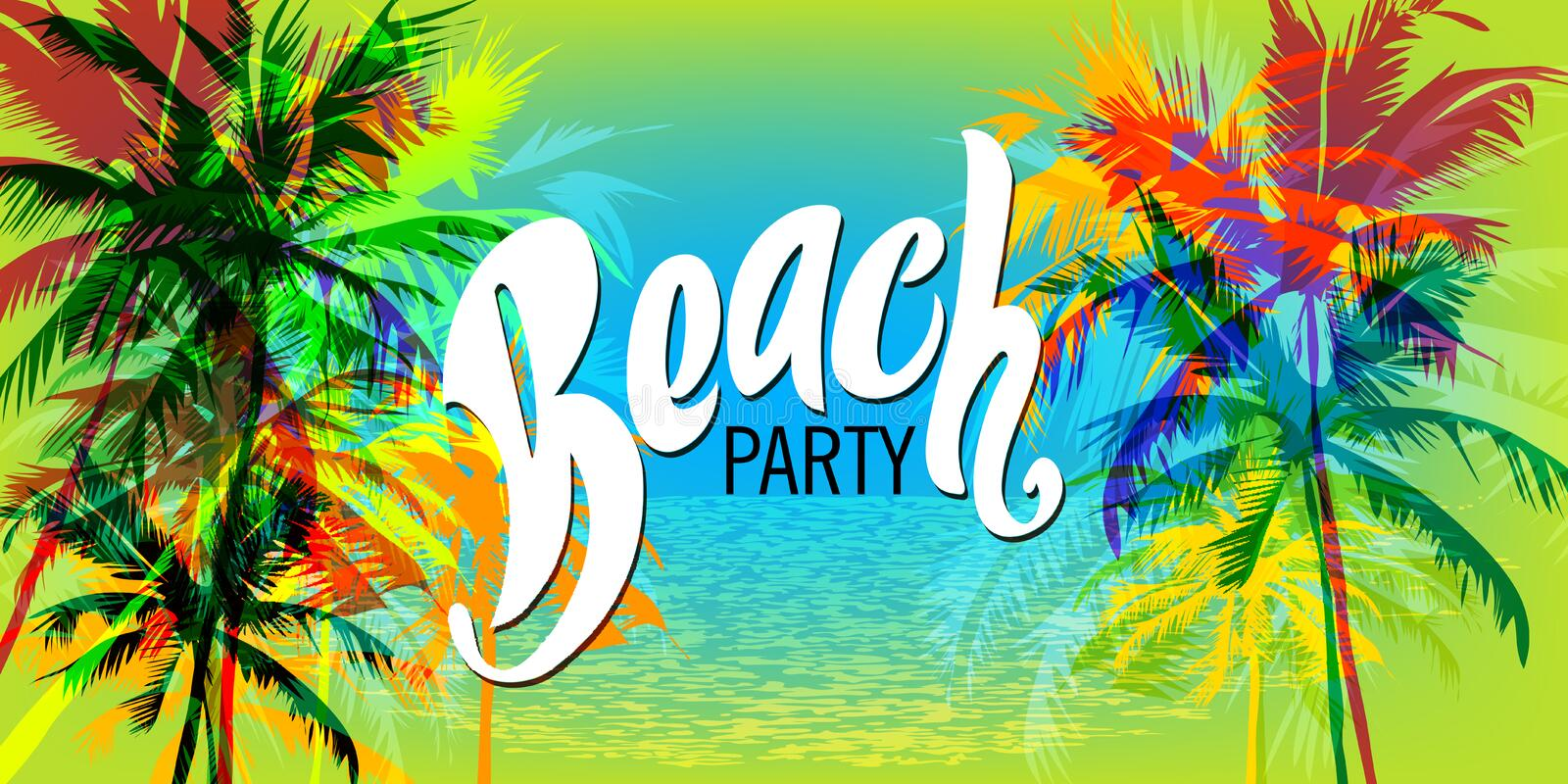 Beach party poster. Template with palm trees and typographic element. Summer beach vector illustration stock illustration