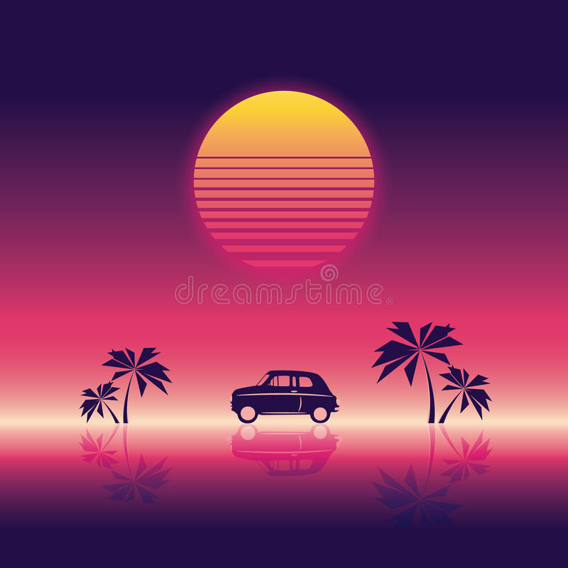 Beach party poster vector illustration template with sunset and palm trees and small car. 80s neon vintage retro style. Eps10 vector illustration royalty free illustration