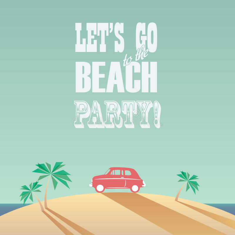Download Beach Party Poster With Vintage Typography Modern Stock Vector