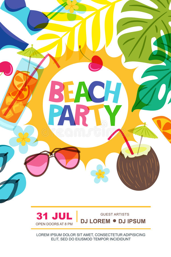 Beach party vector summer poster design template. Sun, palm leaves and cocktails doodle illustration. vector illustration