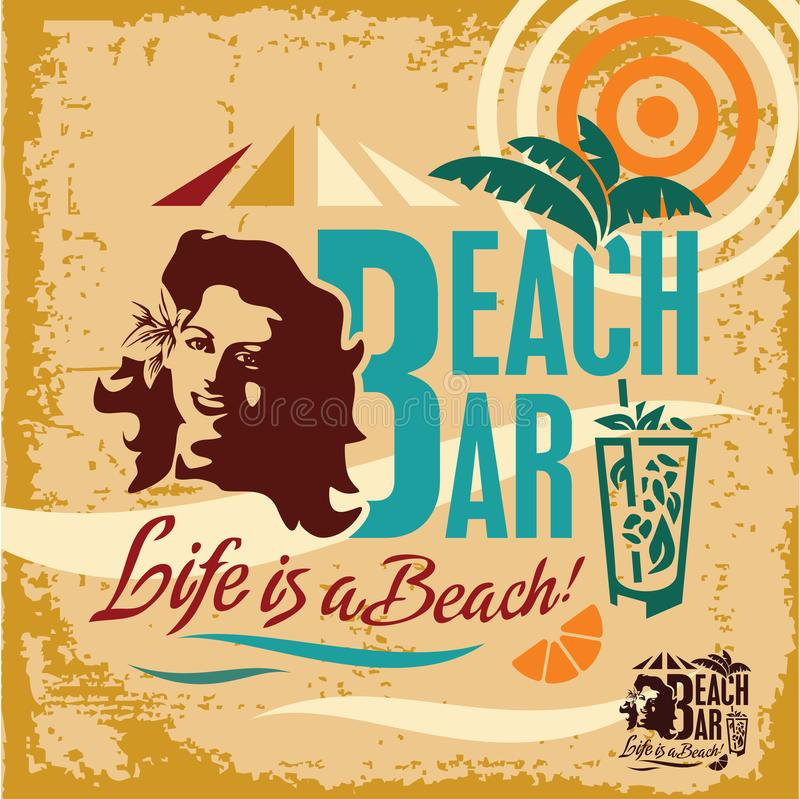 Download Beach Party Vintage Bar Poster Stock Illustration