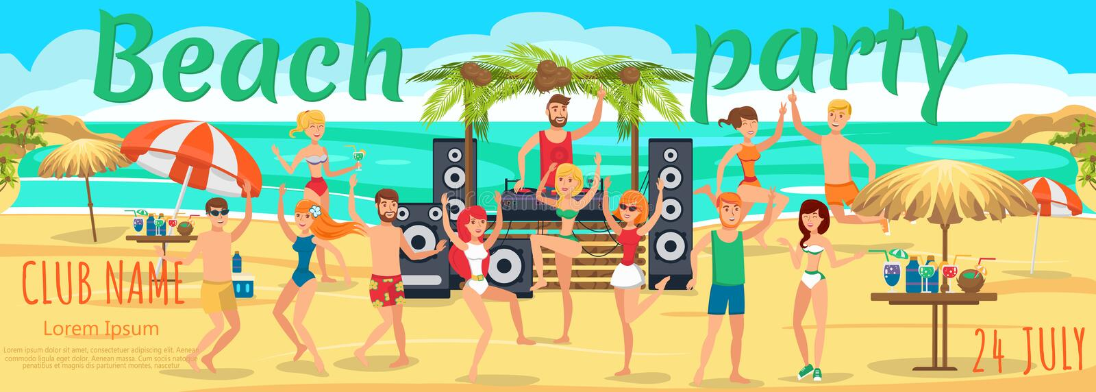 Beach Party. Youth Dances and drinks on Beach vector illustration