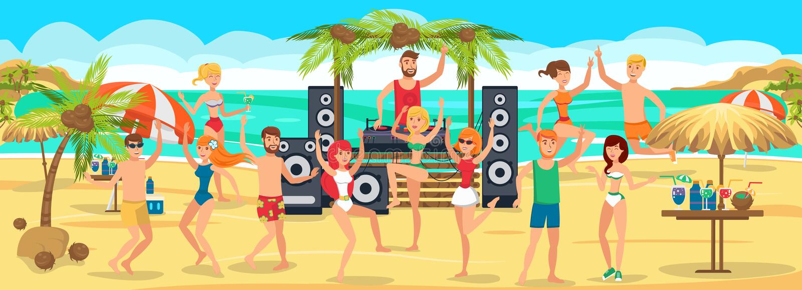 Beach Party. Youth Dances and drinks on Beach royalty free illustration