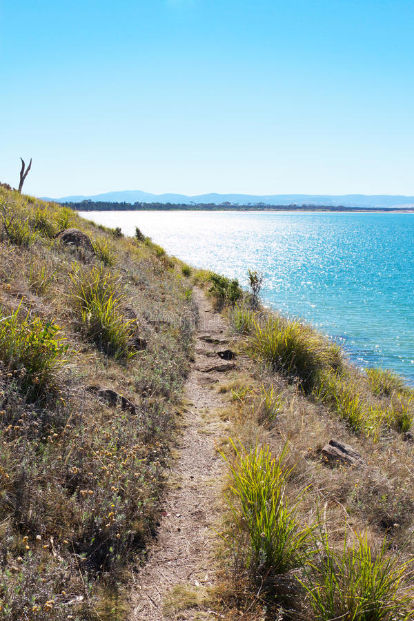 Beach path. A narrow path along the coast at Seven Mile Beach, Tasmania royalty free stock photos
