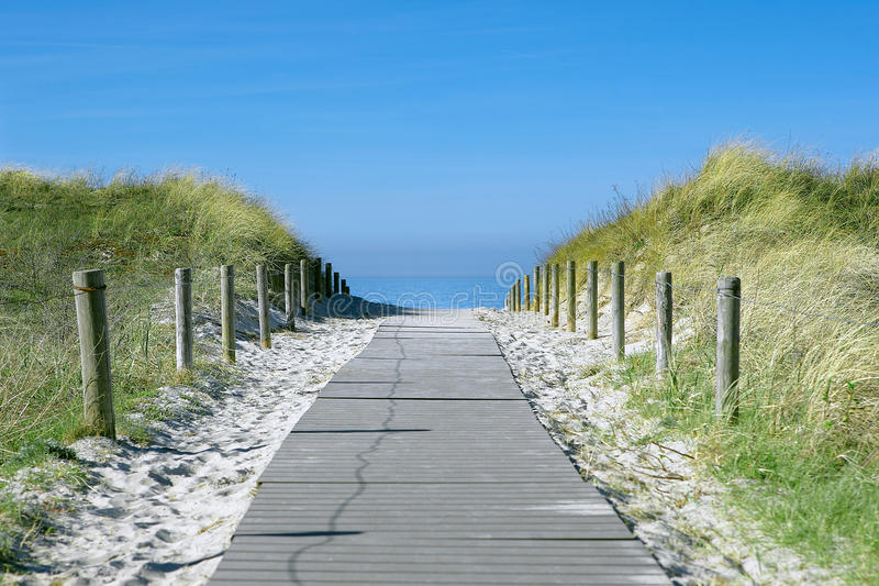 Beach path. Path to the beach between grassy sand dunes stock image