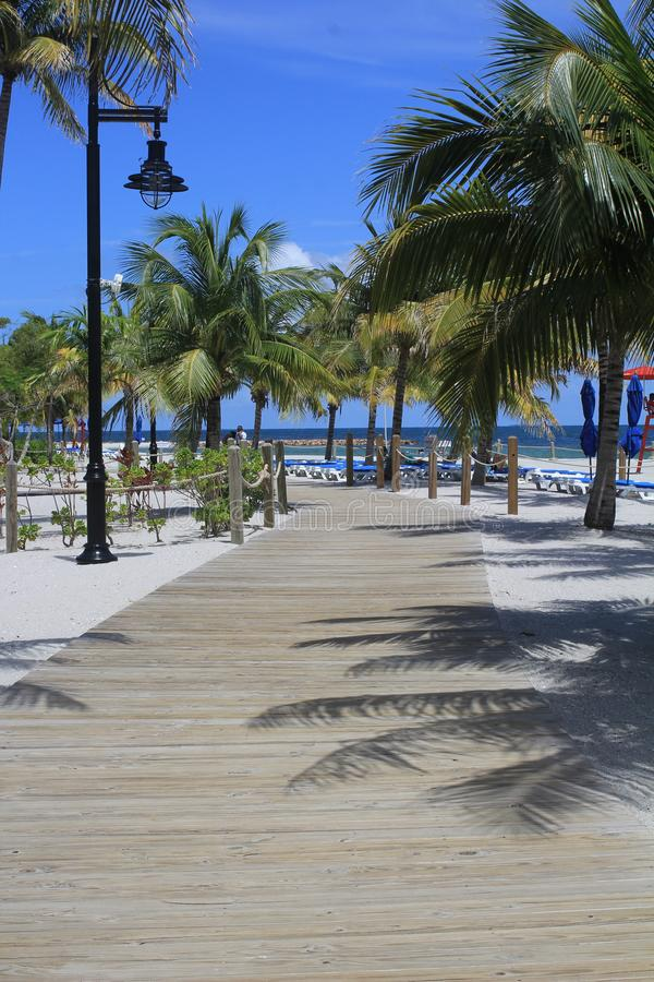 Beach Pathway in Harvest Caye, Belize stock photos