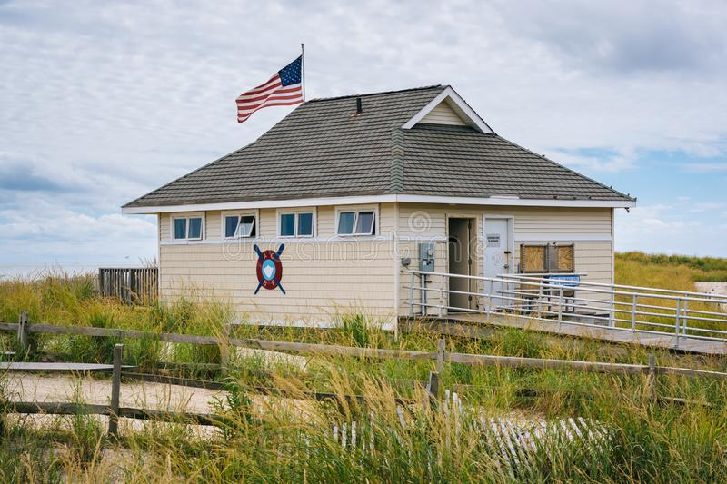 A beach patrol station in Atlantic City, New Jersey stock image