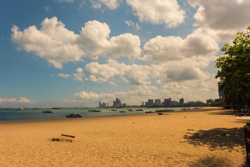 The beach of Pattaya. On a bright but cloudy day royalty free stock photos