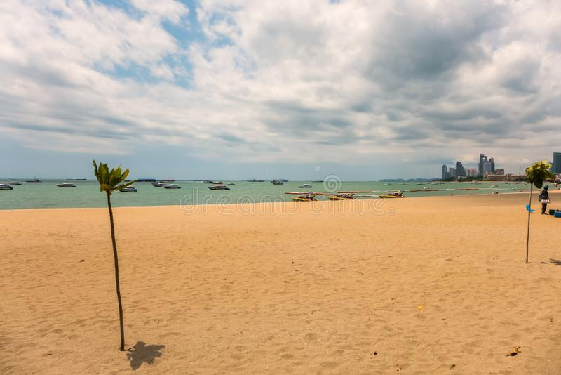 This is the beach of Pattaya. On a cloudy day stock photo