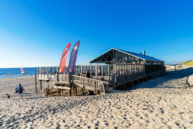 Beach pavilion on Texel, Netherlands stock images