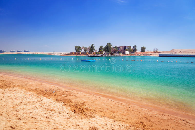 Beach at the Persian Gulf in Abu Dhabi. United Arab Emirates royalty free stock photography