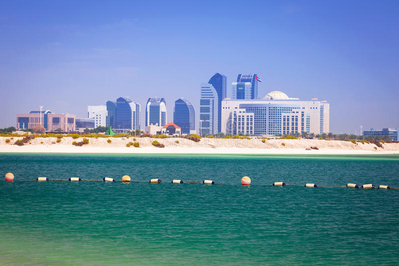Beach at the Persian Gulf in Abu Dhabi. United Arab Emirates royalty free stock photos