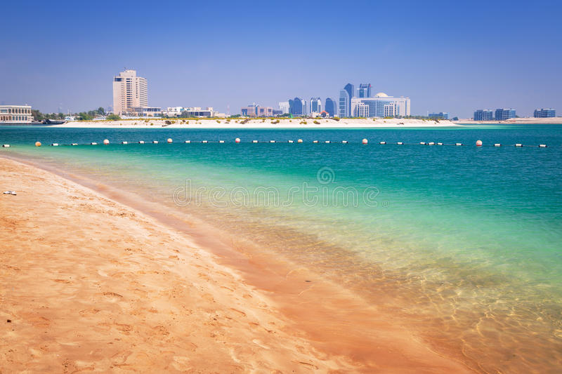 Beach at the Persian Gulf in Abu Dhabi. United Arab Emirates royalty free stock image