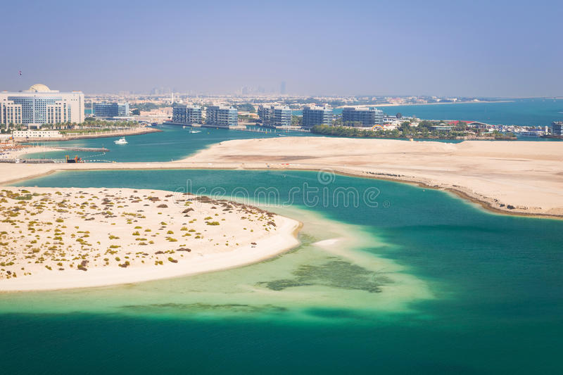 Beach at the Persian Gulf in Abu Dhabi. United Arab Emirates stock photo