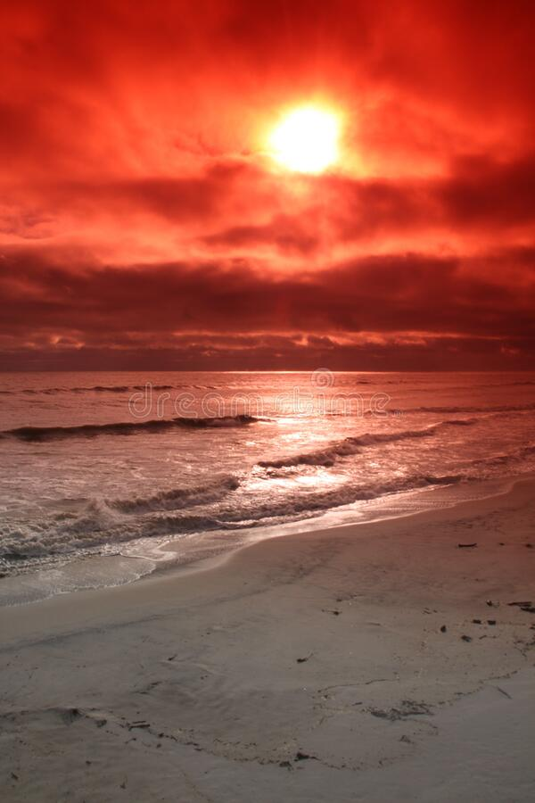 Beach photo using an orange filter. royalty free stock images