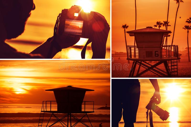 Beach Photography Collage. Beach Sunset Photography Collage. Young Photographer with Camera Taking Pictures at Sunset. California Oceanside Beach. Nature and royalty free stock photos