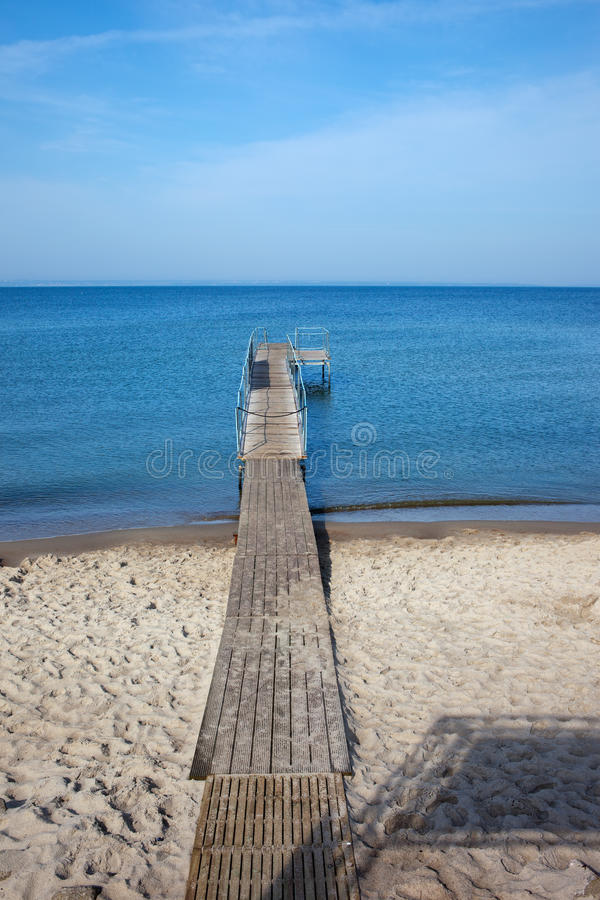 Beach with Pier at Baltic Sea in Hel stock images