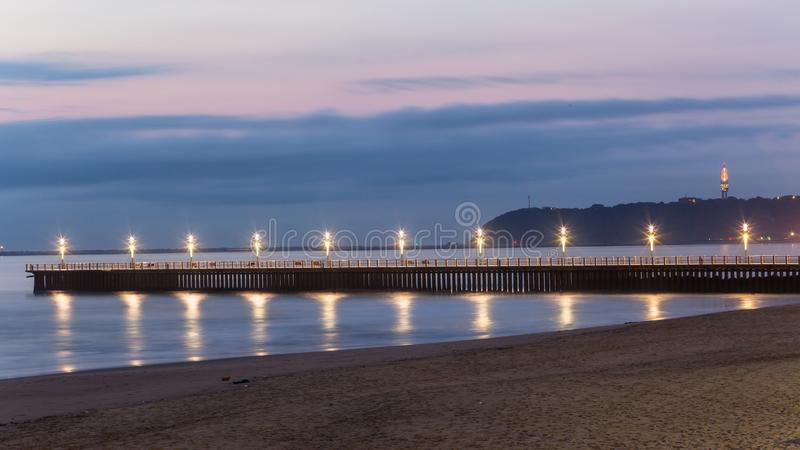 Beach Pier Ocean Lights Reflections Durban stock images