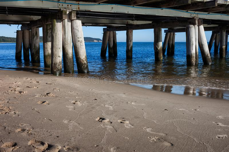 Beach and Pier in Sopot at Baltic Sea royalty free stock image