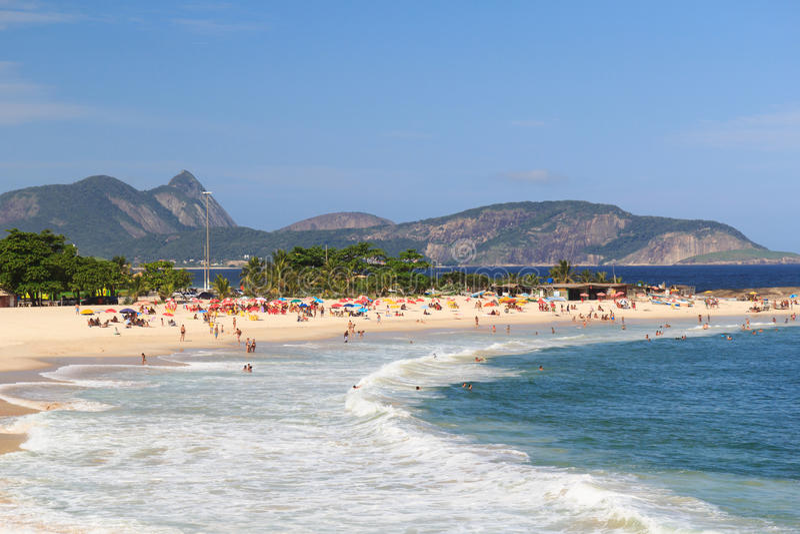 Beach Piratininga Niteroi Rio de Janeiro. Beach Piratininga people waves Niteroi Rio de Janeiro royalty free stock photo