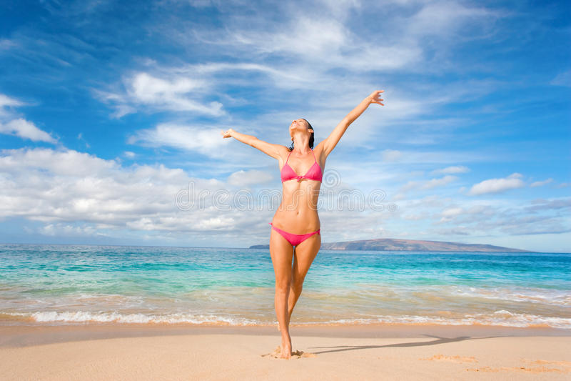 Beach play bikini woman stock photos