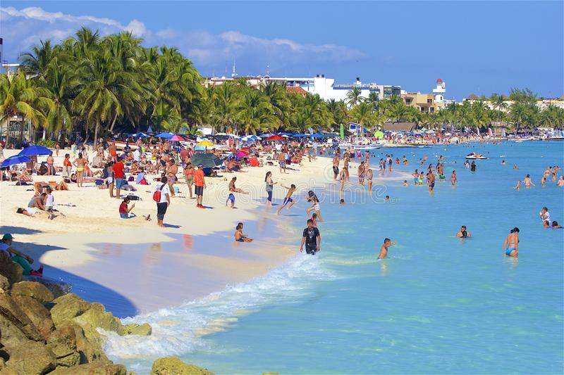 Beach in Playa del Carmen, Mexico. Tropical beach in Playacar and Playa del Carmen, Mexico stock photo