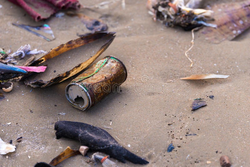 Beach pollution royalty free stock images